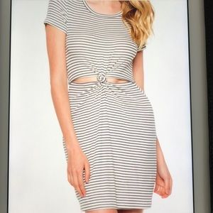 Ribbed stripe knot front dress